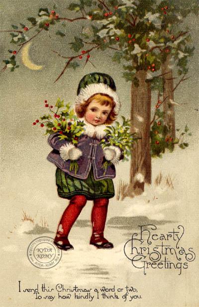 Стариннная рождественская открытка